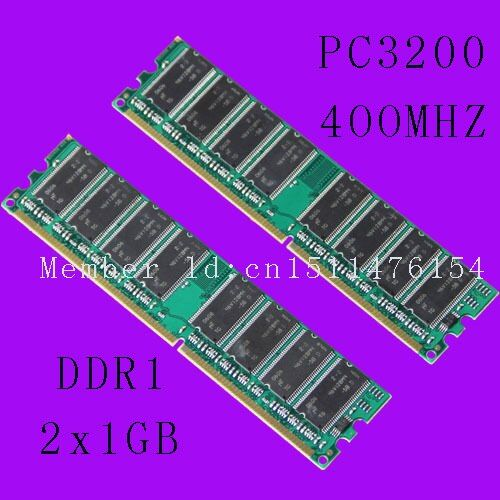 New Desktop 2GB DDR1 Chipset 2X1GB 1GB PC3200 DDR 400 Mhz Low density memory 2Rx8 CL3 DIMM Free shipping