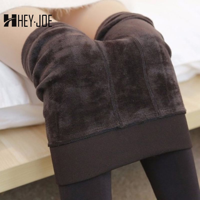 HEYJOE 2017 Autumn Winter Fashion Women's Plus Cashmere Tights High Quality Knitted Velvet Tights Elastic Slim Warm Thick Tights