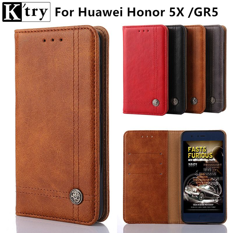 K'try For Huawei Honor 5X Case ,Luxury Flip Leather Case For Huawei Honor 5X Wallet Phone Cover Coque +Card Holder