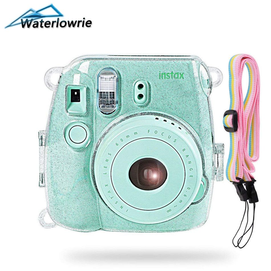 Waterlowrie Camera Bag Shining Transparent Plastic Cover Protect Case For Fujifilm Fuji Instax Mini 9 8 8+ Instant with Strap