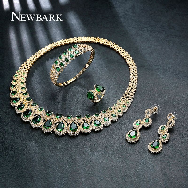 NEWBARK Brand Unique Bridal Wedding 4 Pieces Jewelry Set Top Quality Green Stone AAA CZ Marriage Ring Earring Bracelet Necklace