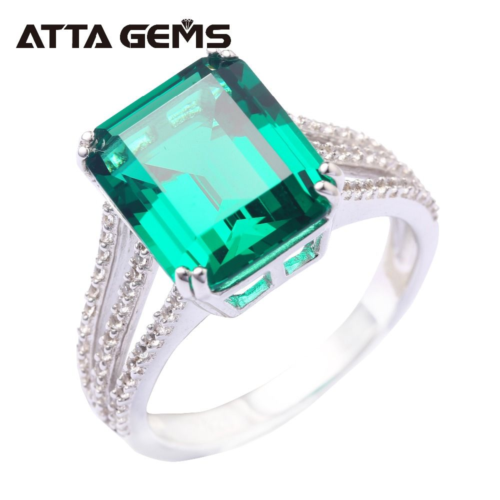 Green Emerald 925 Sterling Silver Ring 6 Carats Emerald Solid Silver For Women Classical Style Fashion And Popular Silver Ring