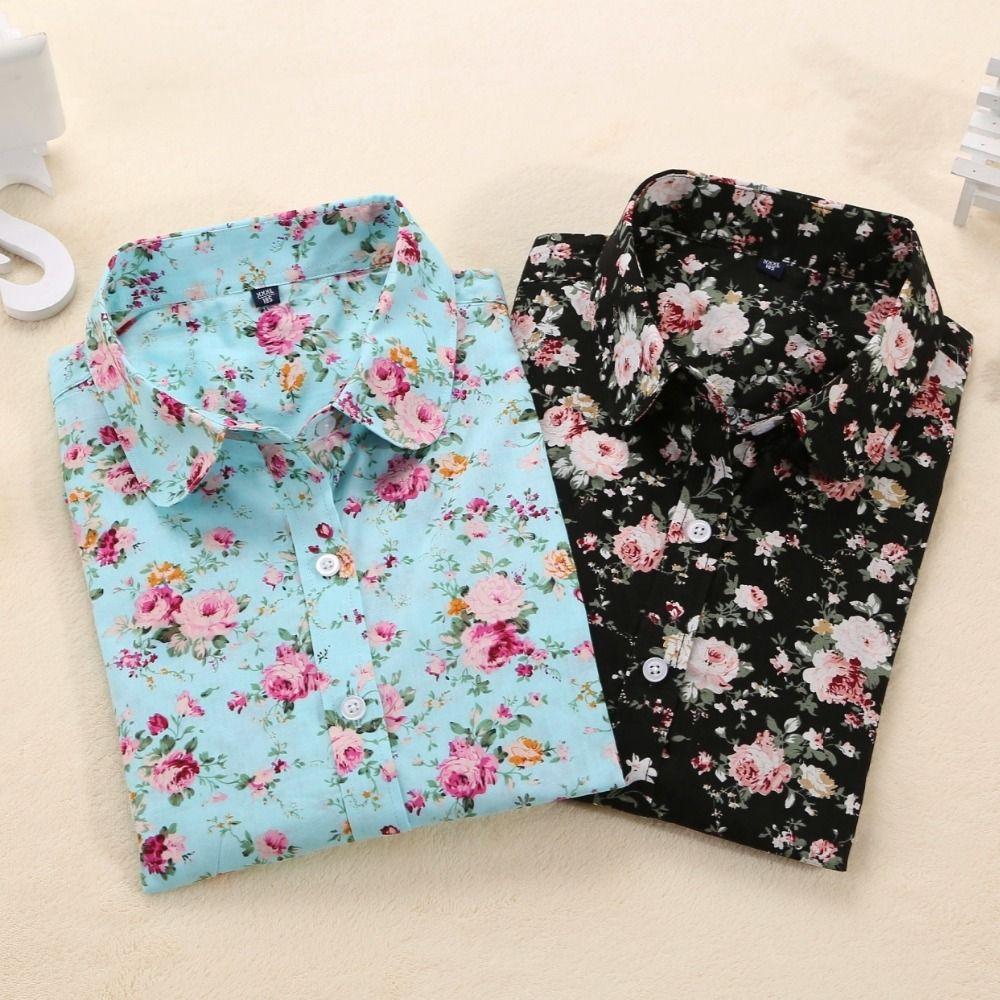 Dioufond Women Autumn Blouses Vintage Floral Blouse Long Sleeve Shirt Women Camisas Femininas Female Tops Fashion Cotton Shirt