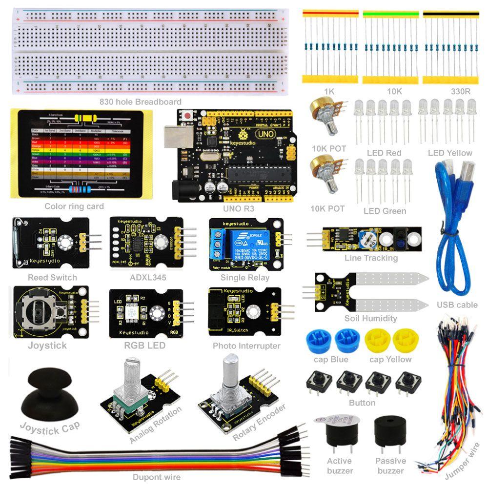 Keyestudio Capteur Kit-K4 pour arduino Starter kit compatible Arduino UNO conseil R3 + ADL345 + Joystick + relais + RGB LED + 19 Projets