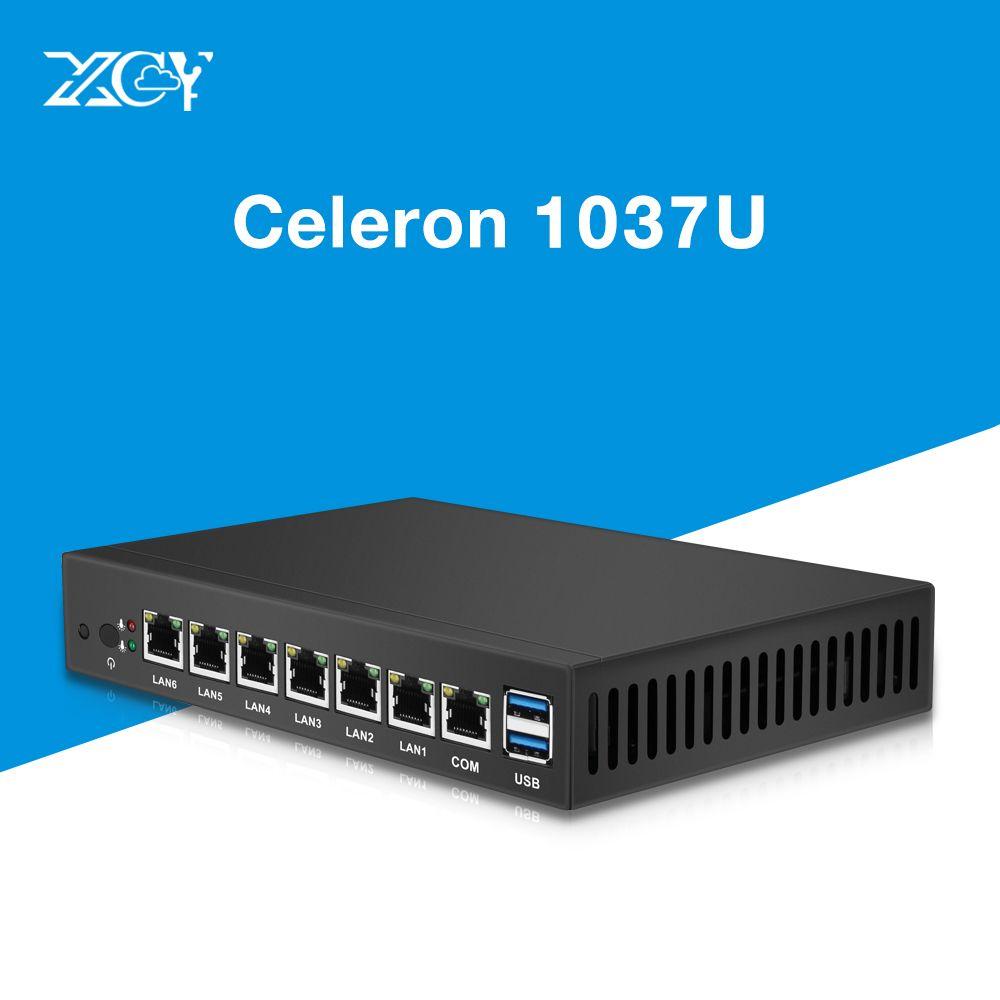 6 LAN Gigabit Ethernet Mini PC Intel Celeron 1037U Dual Core Router Thin Client Server Router OS Pfsense Windows Linux Intel NIC