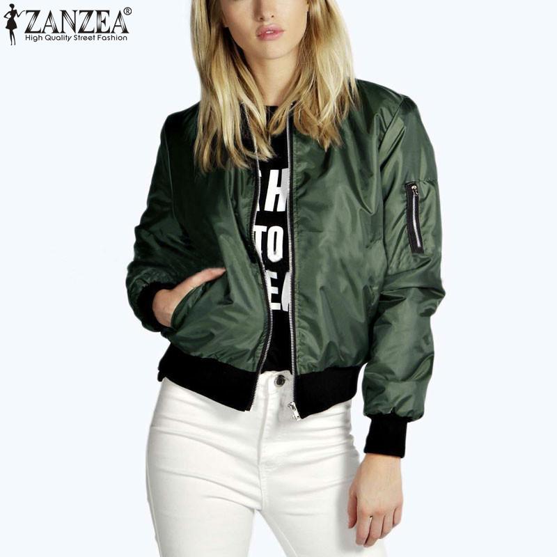 Zanzea <font><b>2018</b></font> Fashion Women Solid Celeb Bomber Long Sleeve Thin Jacket Coat Casual Stand Collar Slim Short Outerwear Plus Size