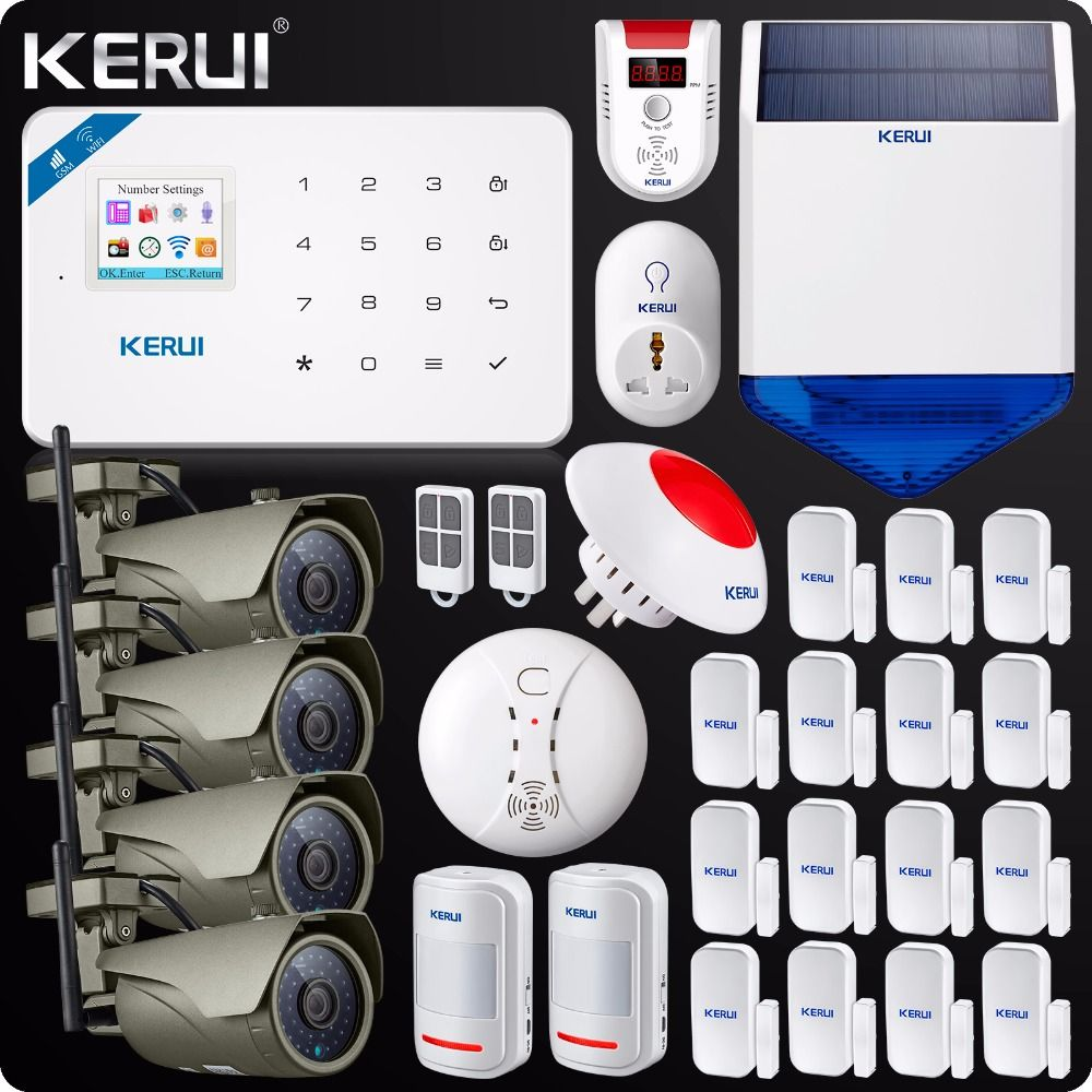 2018 W18 WIFI GSM Burglar Home Security Alarm System touch screen panel 1080P Wifi IP camera Outdoor Solar Siren smoke sensor
