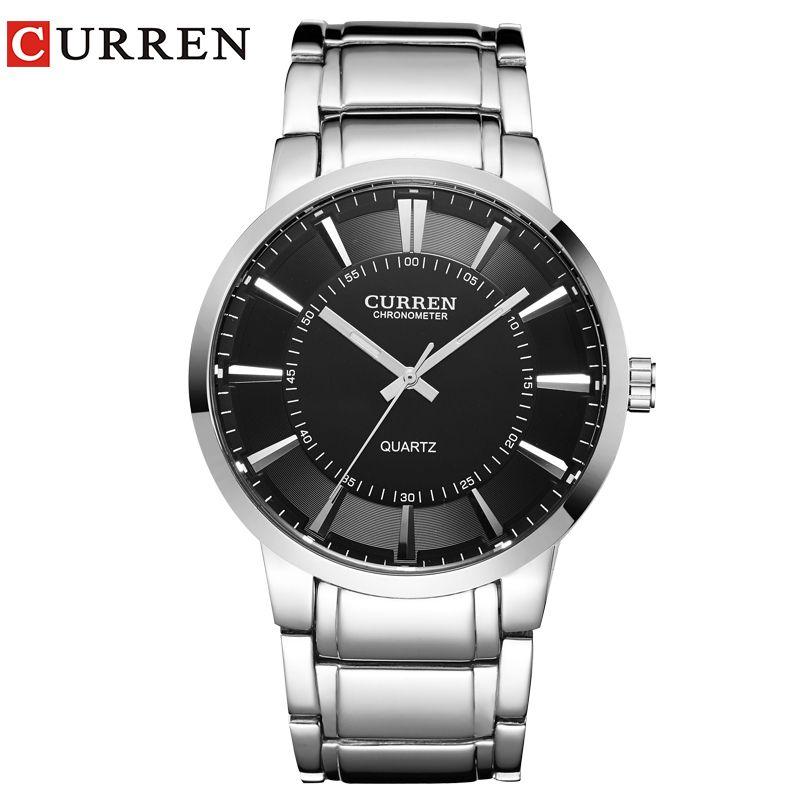 curren famous watches quart watch design <font><b>sport</b></font> steel clock top quality military men male luxury Metal watchband 8001B