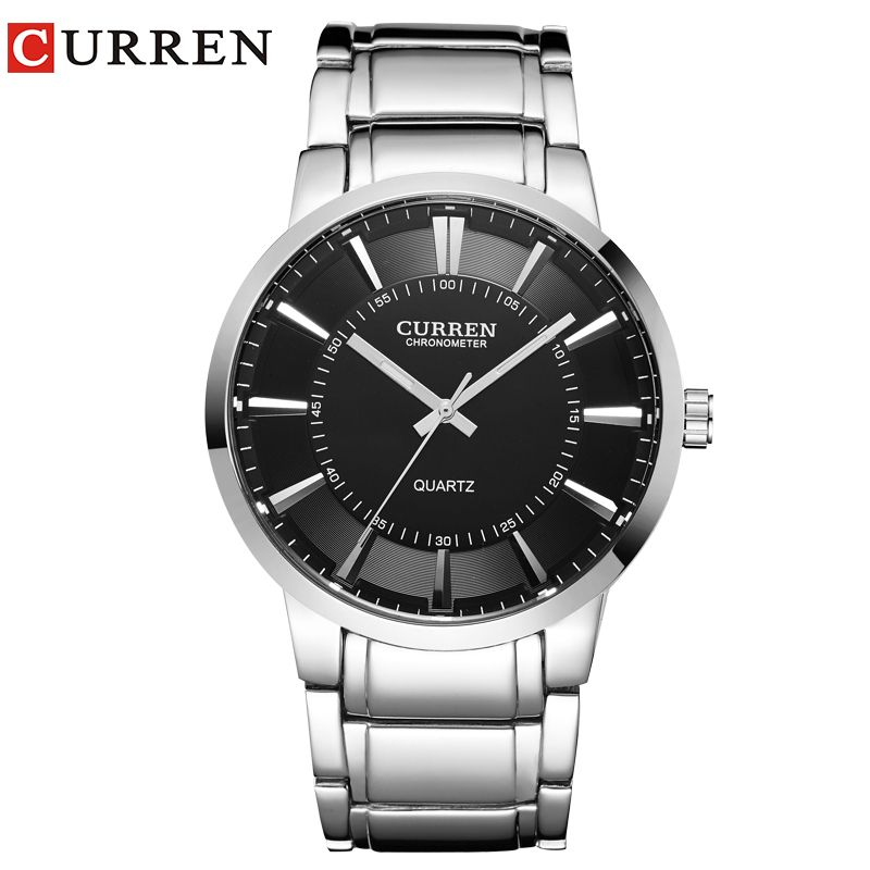curren famous watches quart watch design sport steel clock top quality military men male luxury Metal watchband 8001B
