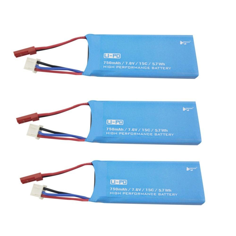 3PCS 7.6V 750mAh Lithium Battery for Hubsan H216A Quadcopter Parts UAV Backup Battery
