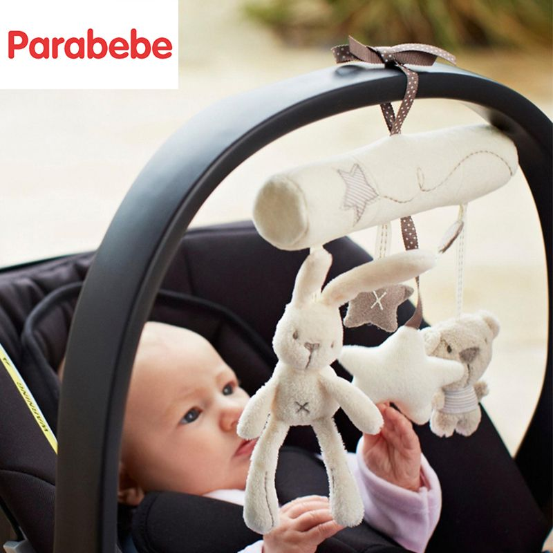 Soft Hanging Baby Stroller Pendant Rabbit Design Stroller Accessories 0 12 months baby toy for newborns musical toys for pram