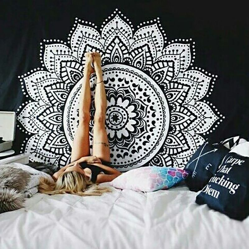 Indien Mandala tapisserie bohême tapisserie tenture murale décoration Hippie tapisserie plage jeter tapis Yoga tapis voyage matelas