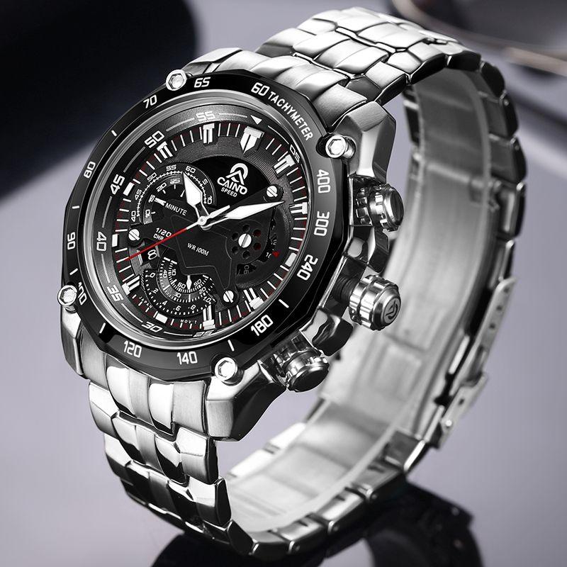 CAINO Männer Sport Uhren Luxus Top Marke Voller Stahl Fashion Business Wasserdicht Analog Quarz Armbanduhr Männlich Relogio Masculino
