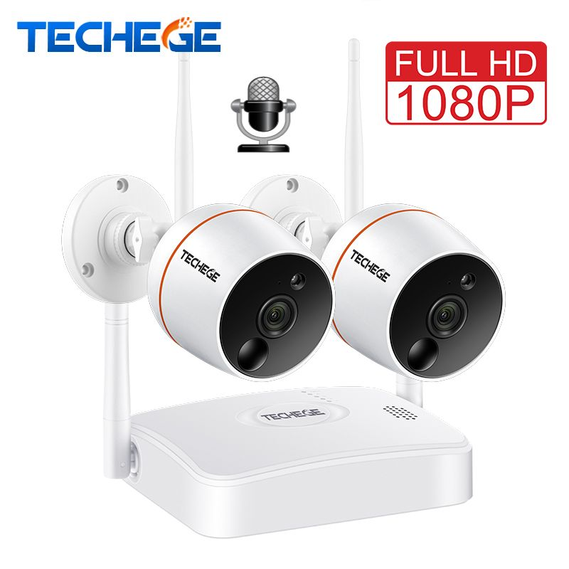 Techege 1080P CCTV Camera System WiFi NVR Kit Video Surveillance Waterproof Wireless IP Camera,PIR Function,SD Card Recording
