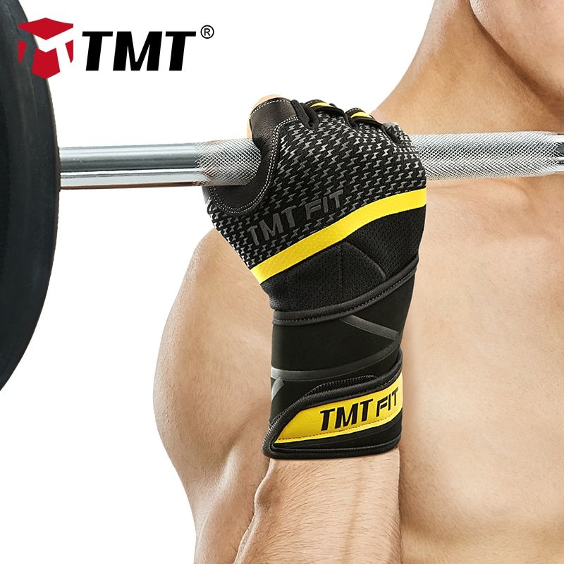 TMT Body Building lambskin Gym glove Equipment Weight lifting Fitness Gloves Non-slip breathable Long Wrist Wrap Sports Exercise