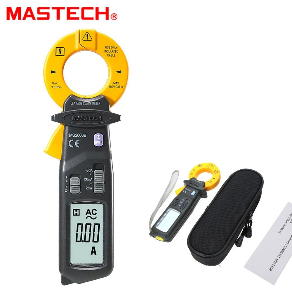 MASTECH MS2006B High Sensitivity AC 60A Leakage Clamp Meters multimeter 1999 counts Data Hold pinza amperimetrica