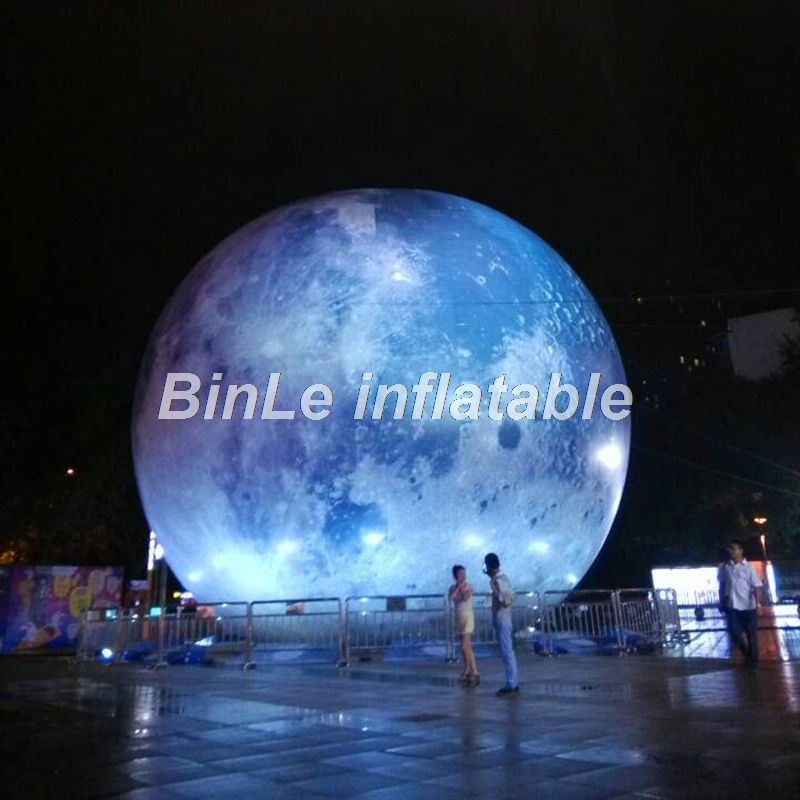 Hot sale Mid-autumn festival giant inflatable moon ball with led light high resolution printed global balloon for events