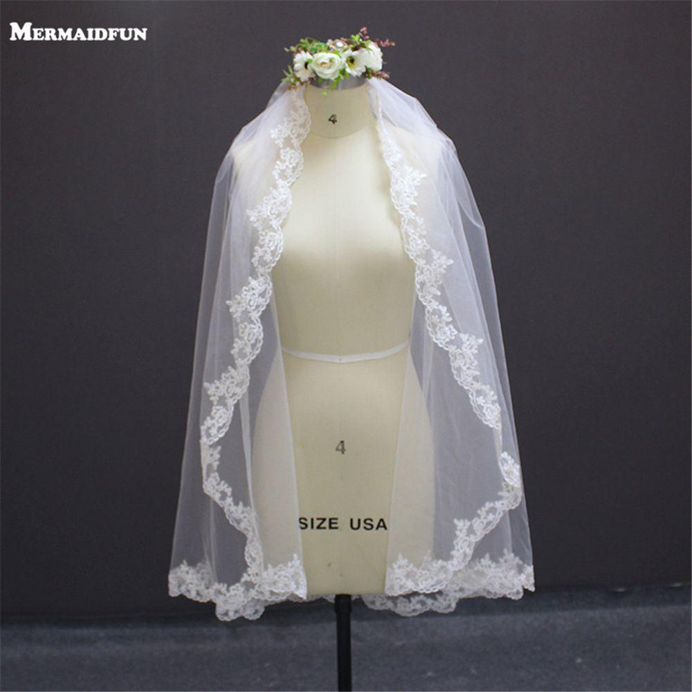 Court un mètre bord dentelle 1 T Voile de Mariage avec peigne Vintage blanc ivoire Voile de mariée accessoires de Mariage Voile Mariage