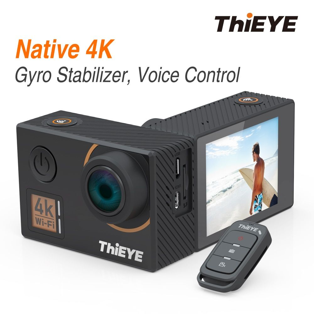 ThiEYE T5 Edge REAL 4K Ultra HD Action Camera with Gyro Stabilizer, Voice Control and Remote Control Waterproof Sports Camera