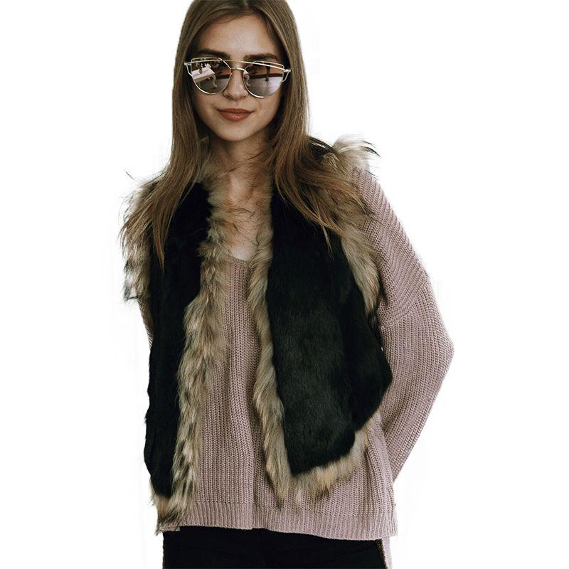 Winter Patchwork Faux Fur Vest Women Slim Short Sleeveless Waistcoat Jackets Female Faux Fur Vest Coats Womens Plus Size S-3XL