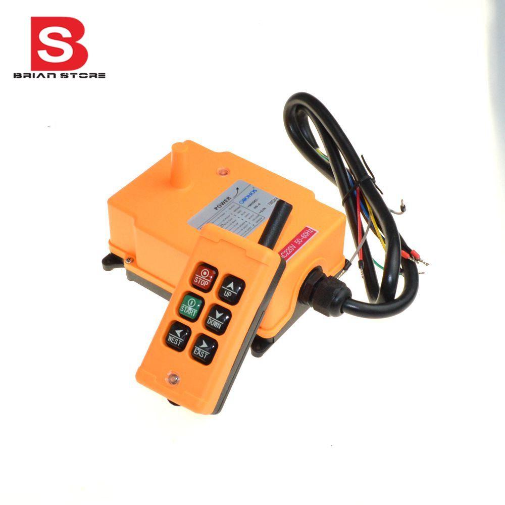 110VAC 6 Channels 1 Transmitter 1 Speed Control Hoist Crane Radio Remote Control System