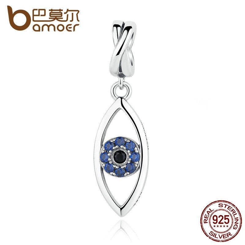 BAMOER New Arrival 925 Sterling Silver Dark Blue Wicked Eye Pendant Charms Fit Charm Bracelets 925 Silver Fashion Jewelry SCC083