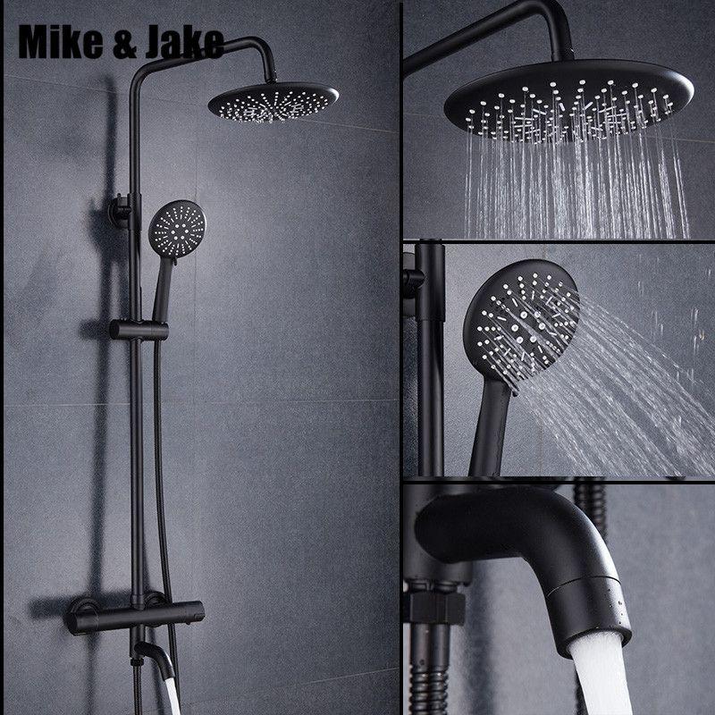 Luxus schwarz thermostat dusche set platz dusche wasserhahn heiße und kalte Dusche wasserhahn Badewanne thermostat dusche mixer MJ9891