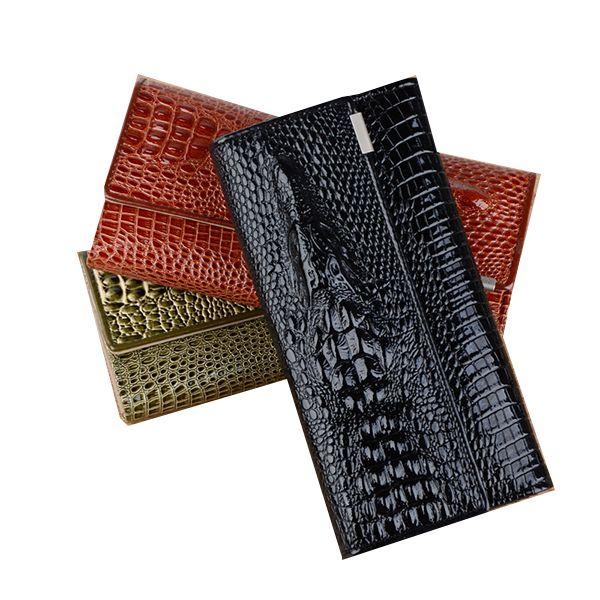 Модные Аллигатор Для женщин кожаный бумажник Длинные Trifold дизайнер кошелек Для женщин 3D с животным принтом женский карты держатель леди