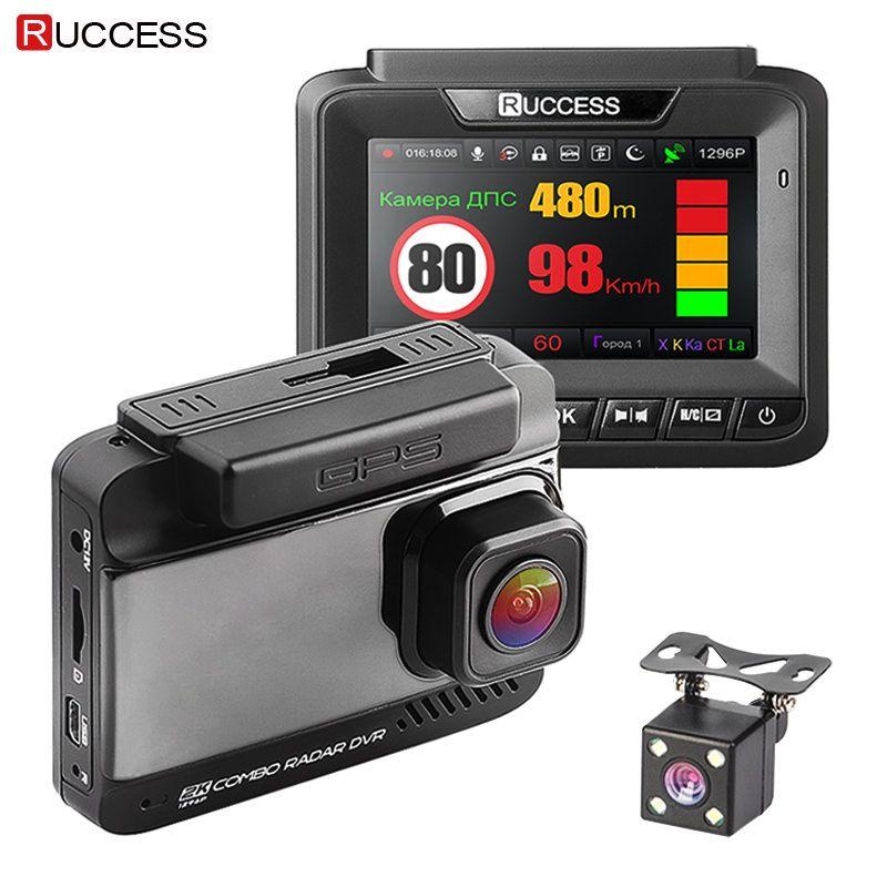 Ruccess Auto DVR 3 in 1 DVR Radar Detektor GPS Full HD 1080 p Dual Kameras Auto Video Recorder 1296 p Russische Nachtsicht WDR ADAS