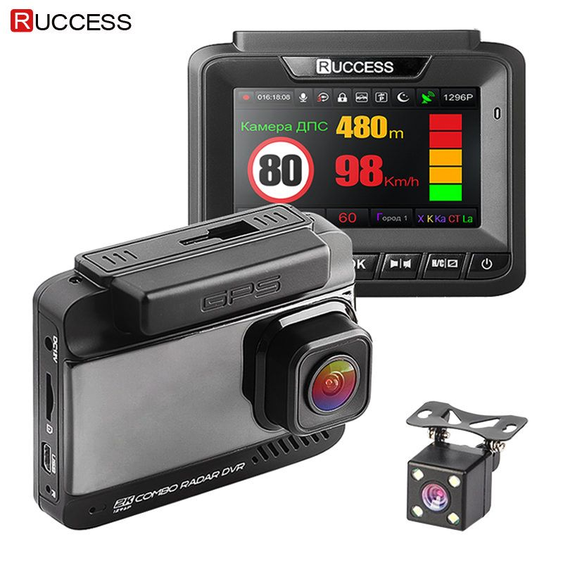 Ruccess Car DVR 3 in 1 DVR Radar Detector GPS Full HD 1080P Dual Cameras Auto Video Recorder 1296P Russian Night Vision WDR ADAS