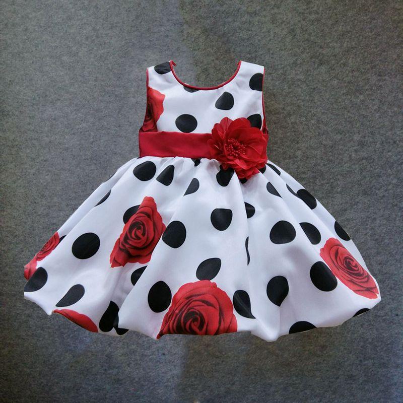 6 M-4 T bébé filles robe Noir Point Rouge Arc infantile d'été robe pour la fête d'anniversaire sans manches princesse floral robe infantil