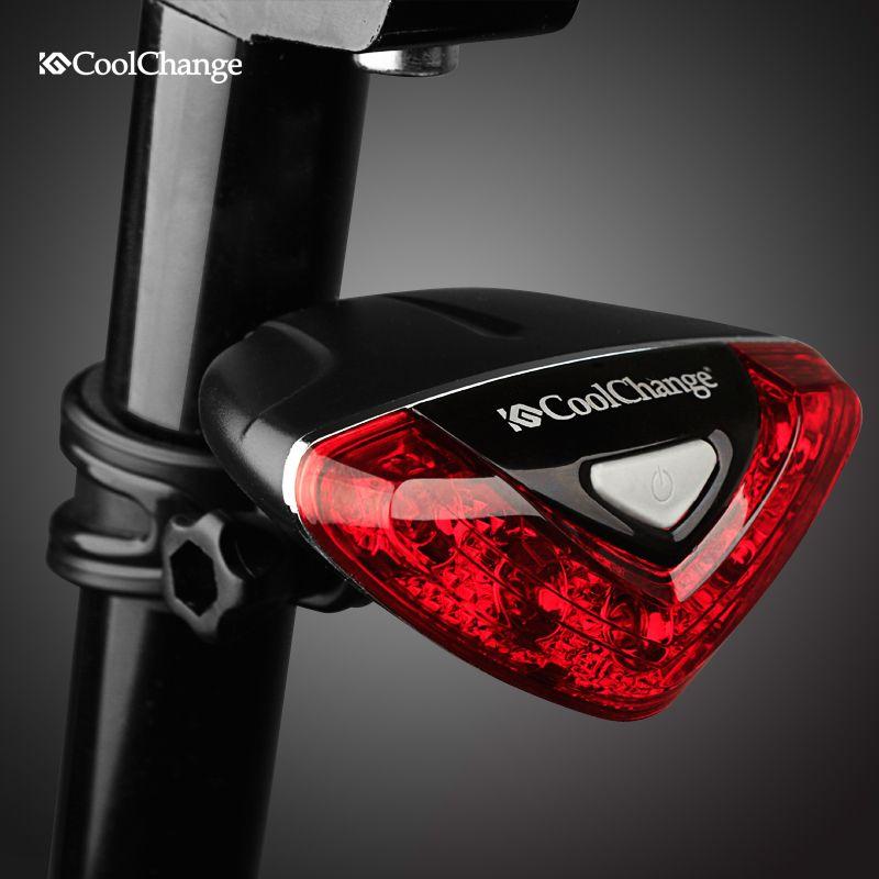 CoolChange vélo arrière feu arrière rouge lampes de poche LED cyclisme nuit sécurité avertissement lampe vélo extérieur feu arrière accessoires