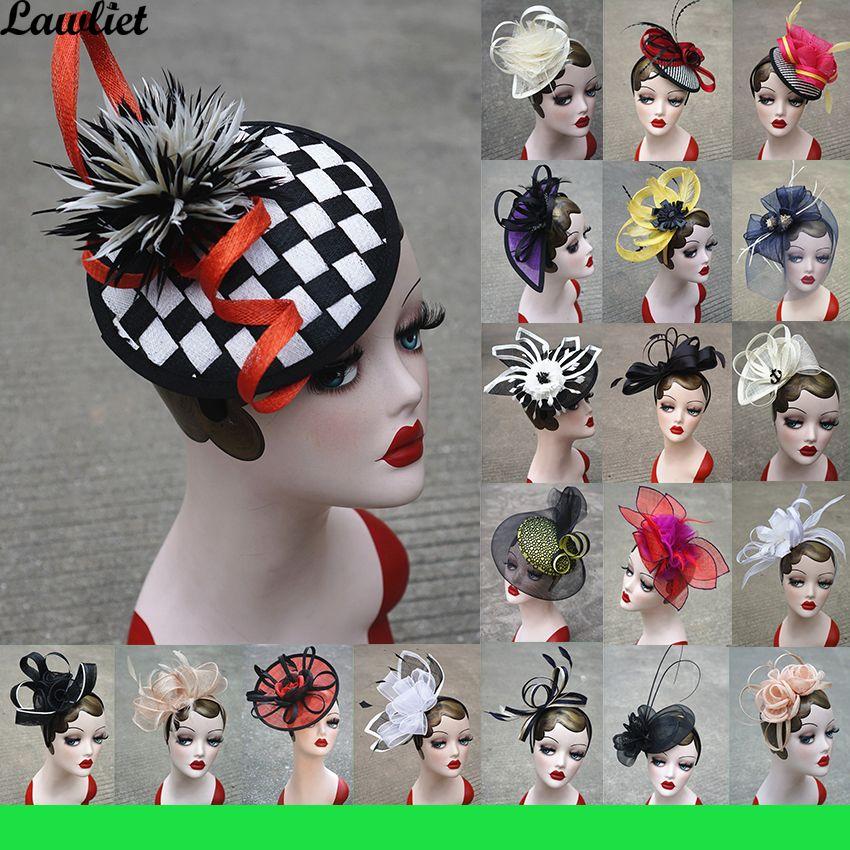 Nouvelle Collection Fascinators Chapeaux Sinamay Plume Filet Chapeaux pour Femmes Kentucky Derby Mariage Événement Cocktail Bandeau 1 pcs