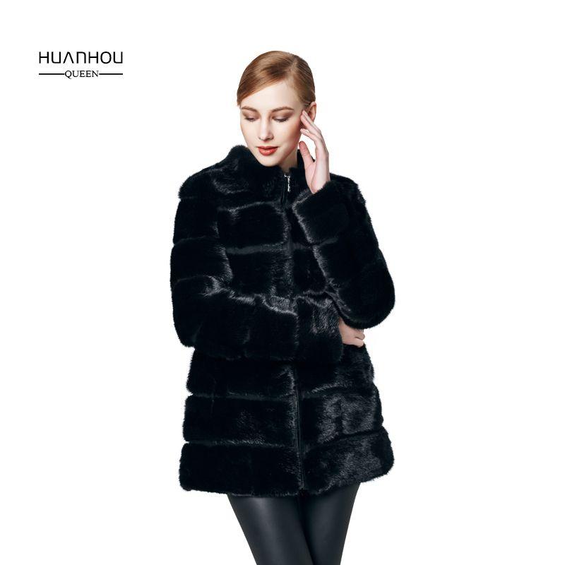 HUANHOU KÖNIGIN real nerz mantel mit hoher qualität, nerz mantel für frauen mode schlank und voller ärmel, warme winter.