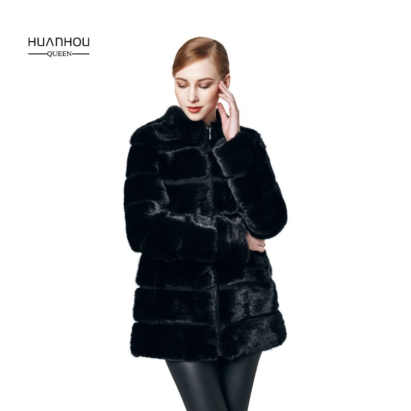HUANHOU QUEEN real mink fur coat with high quality , mink fur coat for women's fashion slim and full sleeves ,warm winter.