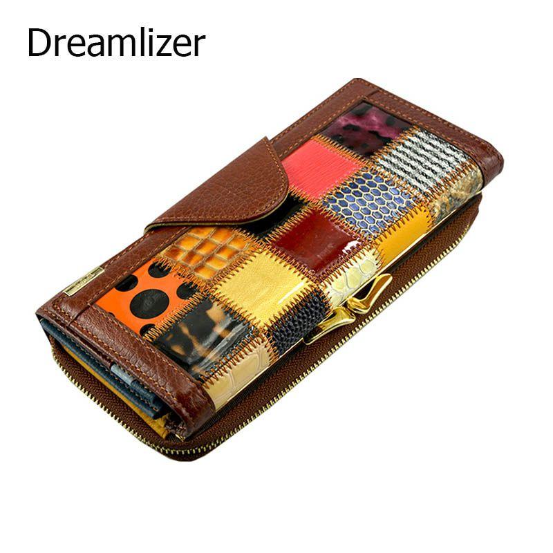 Dreamlizer 3 раза моды Пояса из натуральной кожи Для женщин Женские Кошельки лоскутное HASP монета карман женский клатч Для женщин кошелек