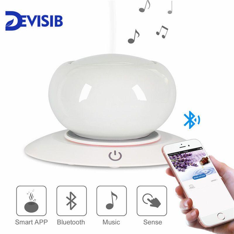 DEVISIB Bluetooth Speaker Ceramic Aroma Essential Oil Diffuser Waterless Auto Shut-off 7 Color LED Ultrasonic Humidifier