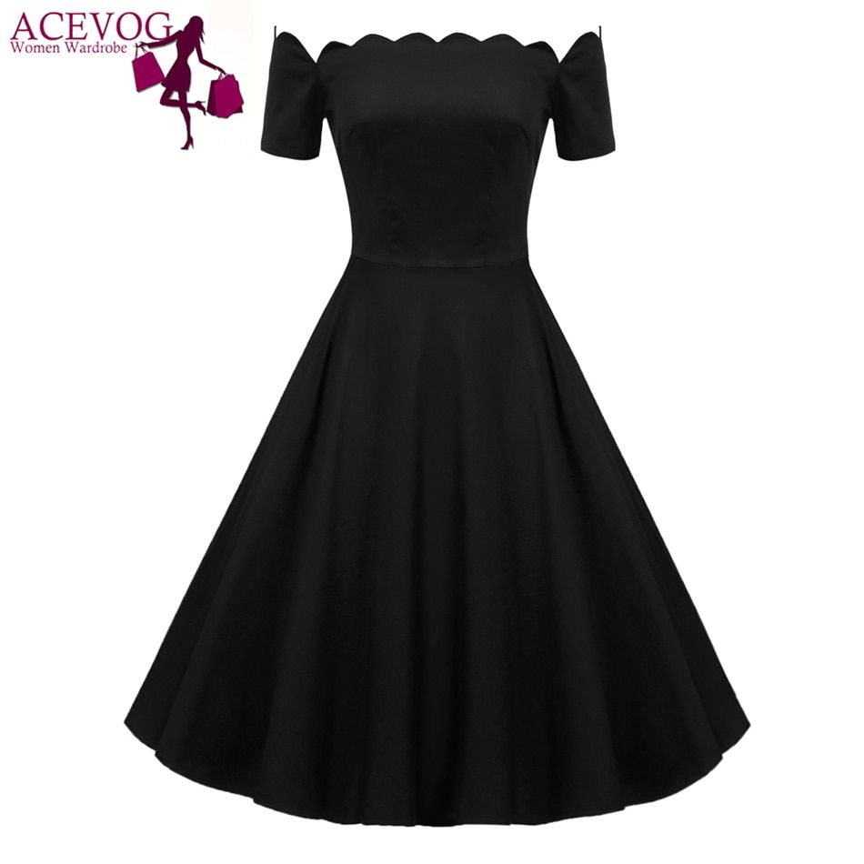 Acevog Ретро Для женщин с открытыми плечами короткий рукав плотная свободное платье плед Dot печати пикантные элегантное праздничное платье