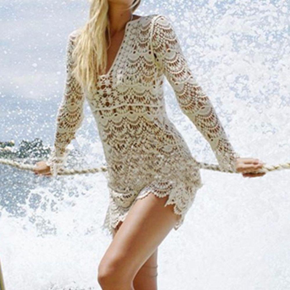 Neue ankunft Pareo strand vertuschen spitze gestrickt häkeln strand tuniken für frauen bikini badeanzug bademode badeanzug beachwear