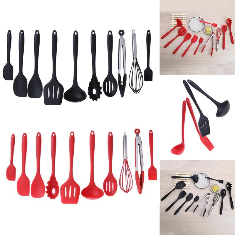 10Pcs/set Silicone Nonstick Baking Cookware Set Household Kitchen Cooking <font><b>Tools</b></font> Cooking Utensils Gadgets Red/Black