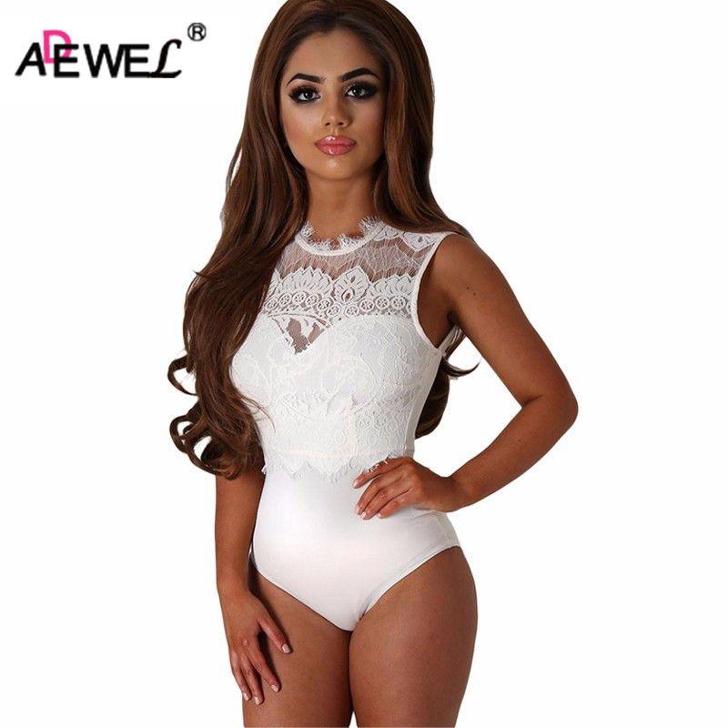 ADEWEL 2019 Sexy body femmes noir dentelle col haut découpé dos moulante combinaisons barboteuse Combinaison Shorts combishorts