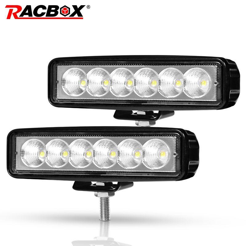 Lumière de camion de projecteur de faisceau d'inondation de lumière de travail de 1/2 pièces 6 inch 18 W LED pour des motos de Jeep Offroad 4x4 ATV 4WD SUV UAZ lumière de brouillard de voiture