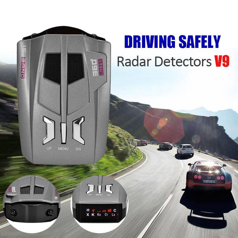 2017 Free shipping 360 Degree Car radar detector V9 16 Band Scanning LED Radar Detector Car Speed Testing System english/Russia