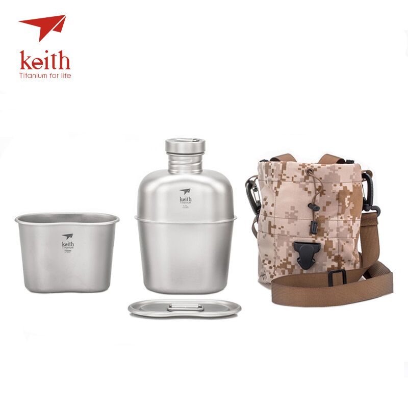 Keith Outdoor Camping Hiking Titanium Dual-use Canteen Military Water Bottle Kettle Cup Pot 1100ml+700ml  Ti3060