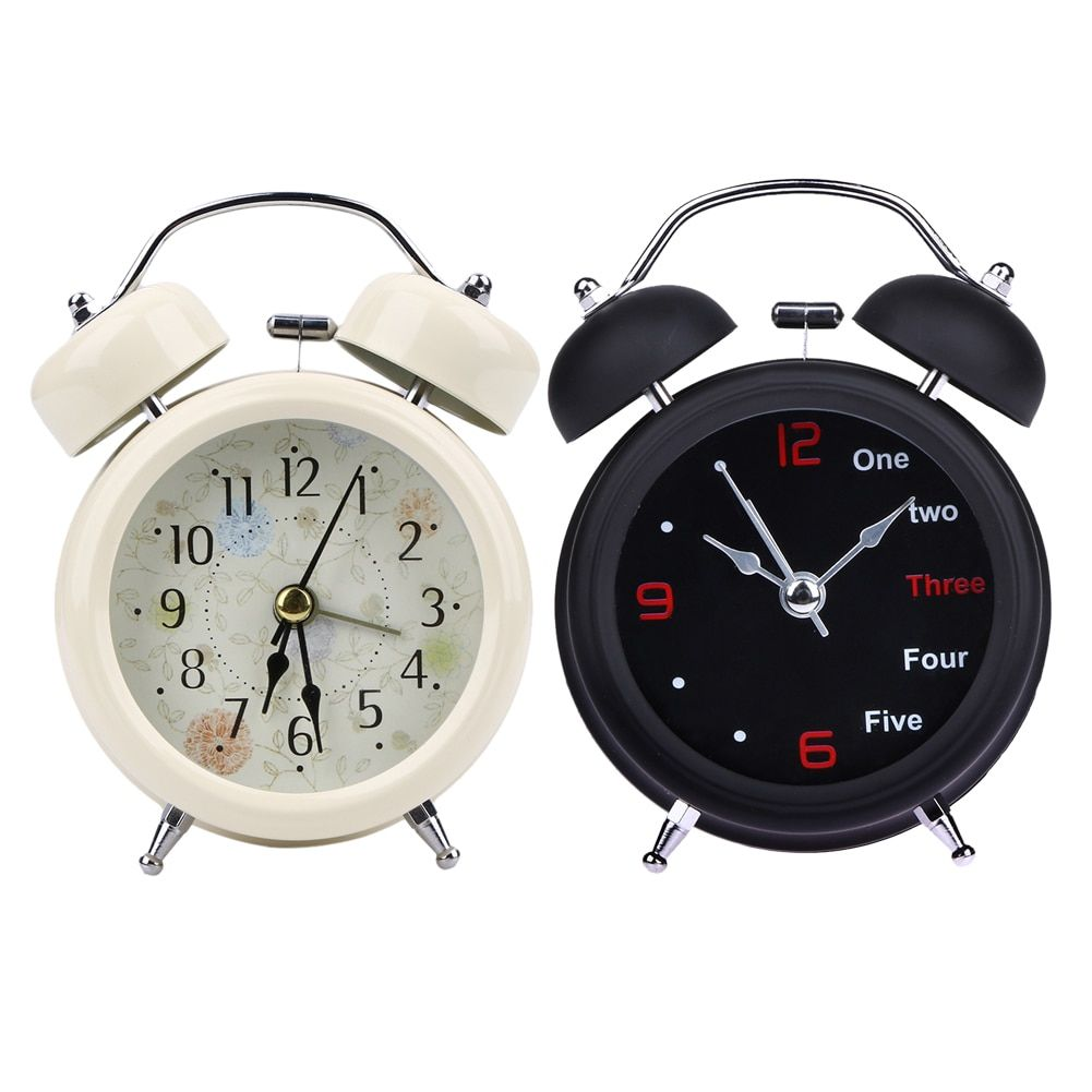 White Black Household Retro Alarm Clock Round Number Double Bell Desk Table Digital Clock Home Decor