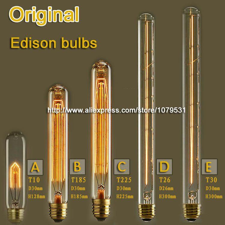 25W 40W 60W Vintage Edison Bulb T10 T185 T225 T26 T30 Incandescent Bulb E27 Flute Edison Lamp 110V 220V
