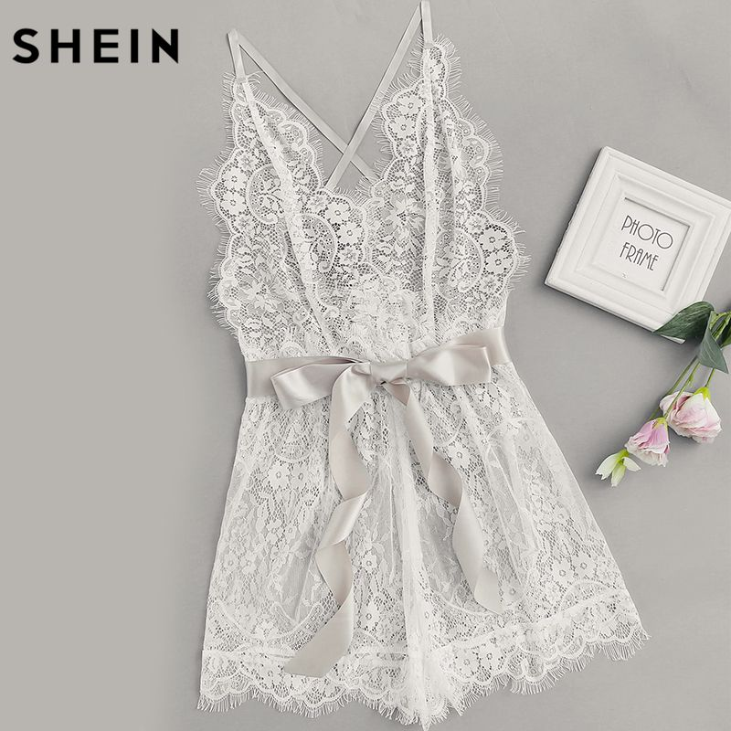 SHEIN Women's Pajamas Women Ribbon Tie Waist Plunging Lace Sleep Romper White Spaghetti Strap Sleeveless Sexy Loungewear