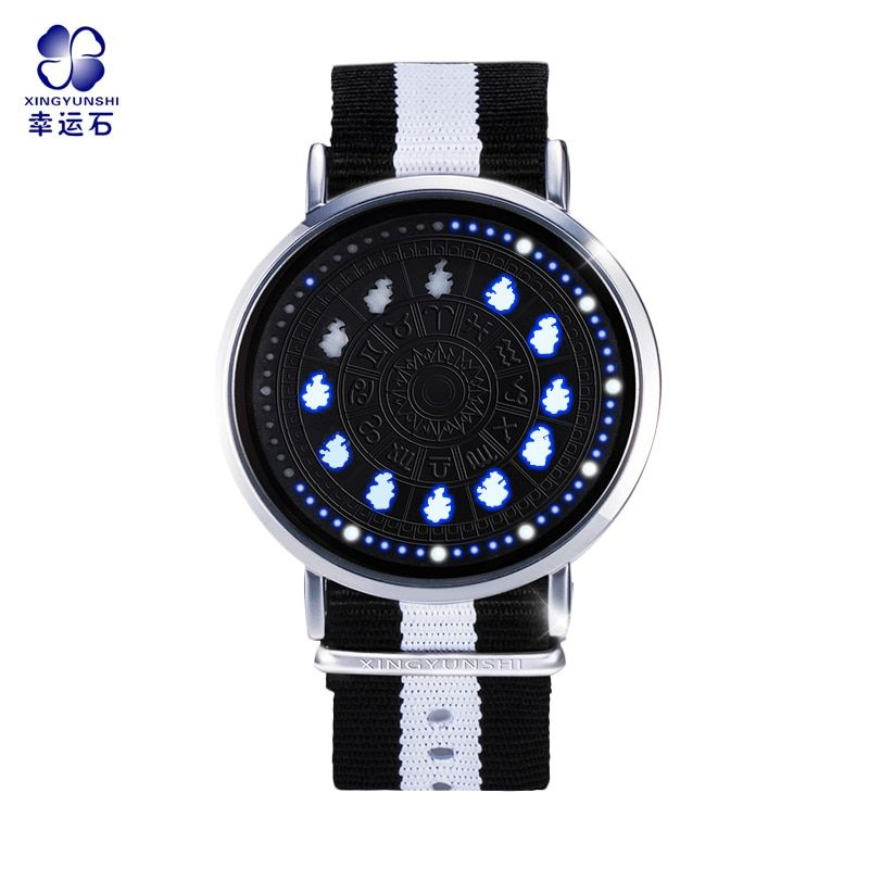 Saint Seiya Constellation LED Touch Screen Watch 12 Zodiac Signs Theme Waterproof Wrist Watches Virgo Taurus Leo Christmas Gift
