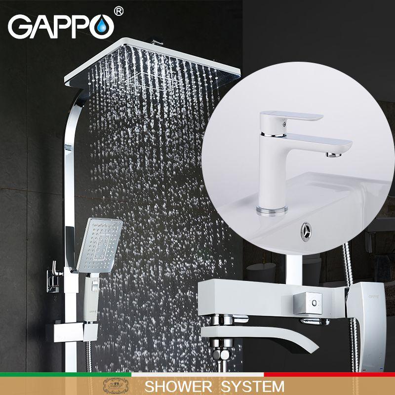 GAPPO weiß Badewanne Armaturen badewanne mixer wasserfall bad armaturen basin wasserhahn messing becken mischbatterien dusche system