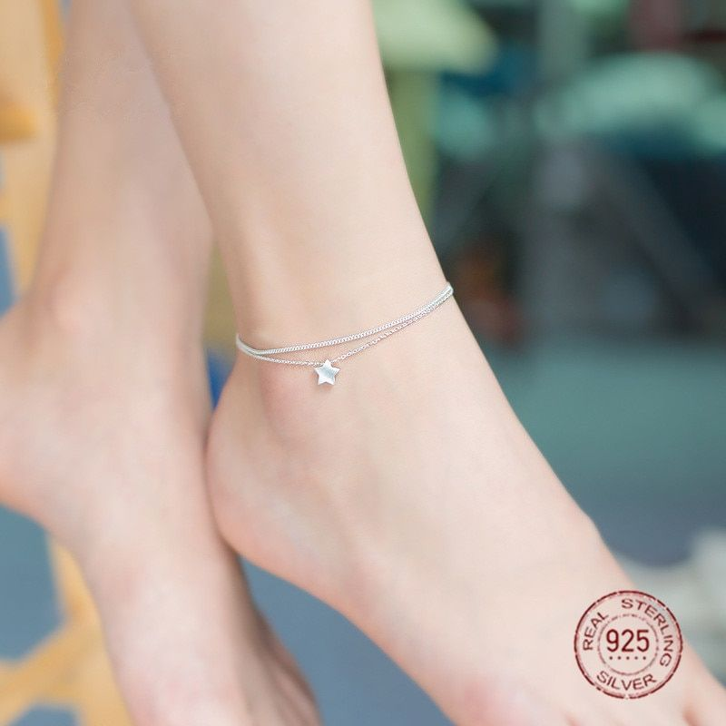 Minimalist Dainty 925 Sterling Silver Small Star Charm Double Strand Anklet | Simple Sterling Silver Jewelry Cute Foot Bracelet